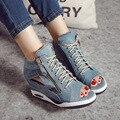 Sandálias de Salto alto Gladiador Sapatos Sexy Lady Bombas Mulher Do Dedo Do Pé Aberto Cunhas Sapatos femininos Plataforma Sapatos de Senhora calças de Brim Cunhas Grife