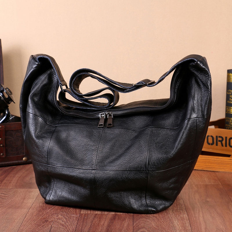 Big Bag Head Layer Of Leather Messenger Bag Europe And The United States Simple Leather Large Size Shoulder Bag Handbags