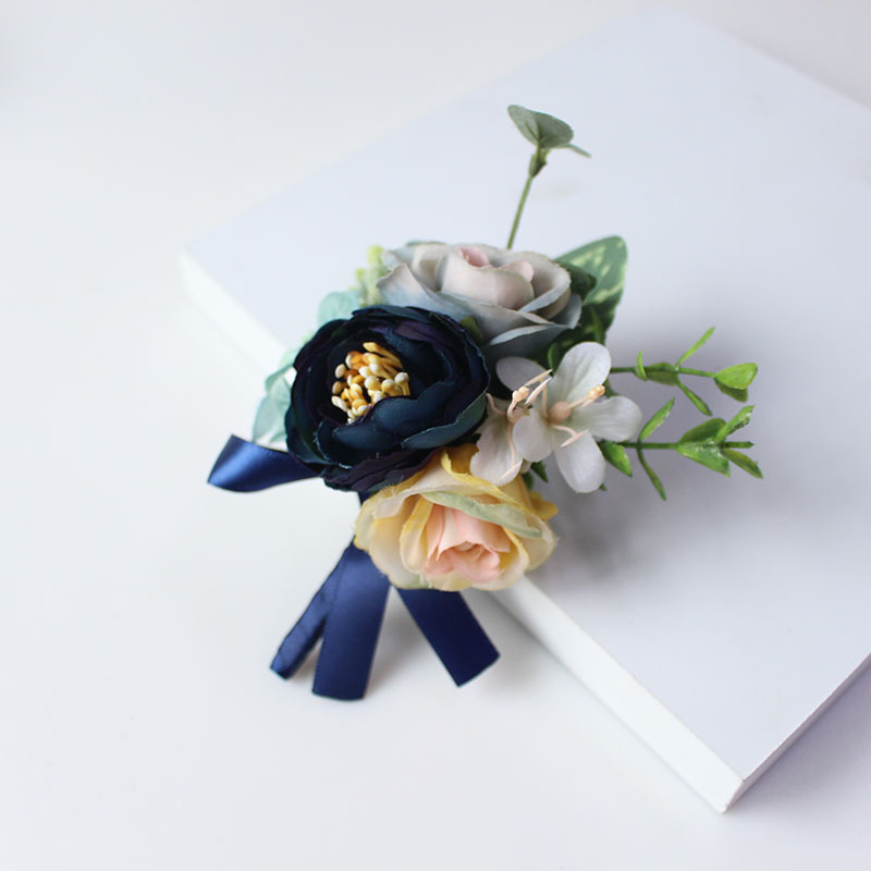 wedding groom boutonniere corsage pin brooch silk flowers  (19)