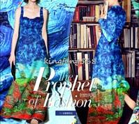 Designer 35 Natural Mulberry Silk 65 Woolen Clothing Fabric Silk Woolen Satin Blue Geometric Cheongsam Dresses