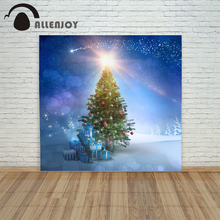 backdrop christmas backgrounds new year noel Blue gifts bokeh tree xmas photocall decorations child baby