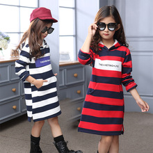 Children s Wear Winter New Girls Korean Fashion Leisure Stripe Hooded Thickening Dresses Cotton Kids Clothing