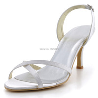 Free Shipping EP2105 3 White Ivory Women Open Toe Evening Bridal Party Pumps Sandals Satin Wedding