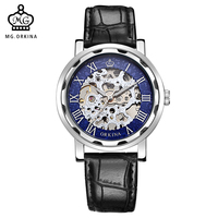 ORKINA Classic Hand Wind Mechanical Skeleton Hollow Dial Mens Wristwatch Reloj Male Montre Homme
