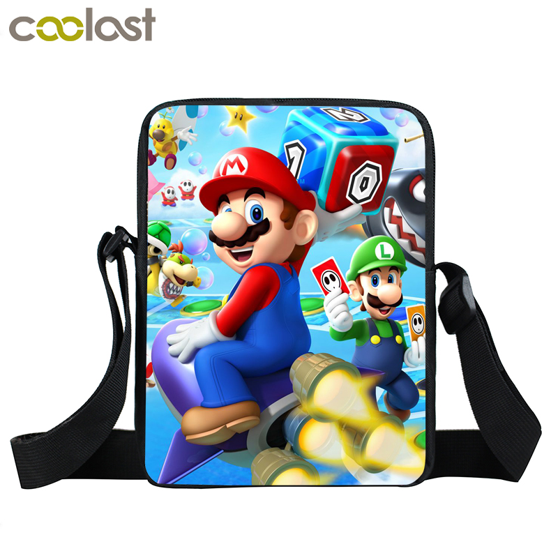 Cartoon Mario Print Mini Messenger Bag Smash Bros Boys Girls Crossbody Bags Children School Bags Kids Bookbag Small Shoulder B