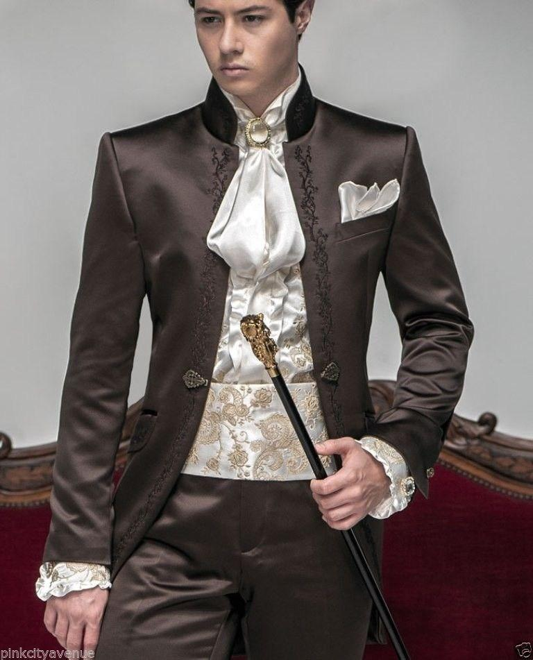 New Style Groomsmen Mandarin Lapel Groom Tuxedos Chocolate Men Suits Embroidered Wedding Best Man Blazer Jacket Pants Z200 In From S Clothing