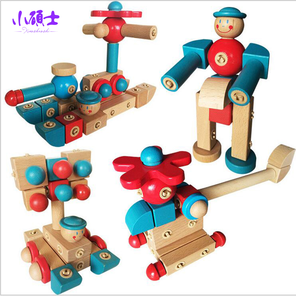 High Quality Wooden  Rotatable free assembly Building Blocks Chiidren Kids Education Intellingence Creativity Model Toys Gift 50pcs hot sale wooden intelligence stick education wooden toys building blocks montessori mathematical gift baby toys