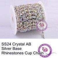 F661213 Rhinestone Cup Chain CPAM FREE SS24 Crystal AB Stone Silver Base MOQ 5roll 10yard Roll