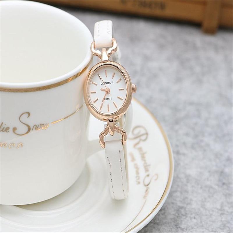 2017 Gogoey brand rose gold case thin leather watches women ladies crystal Dress Quartz Wrist Watch Relogio Feminino go4407