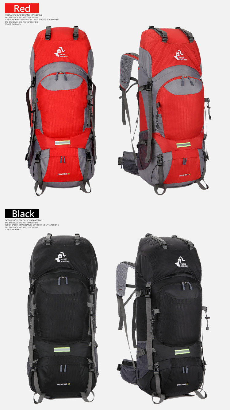 Waterproof 65L Tactical Unisex Backpack Red and Black Color