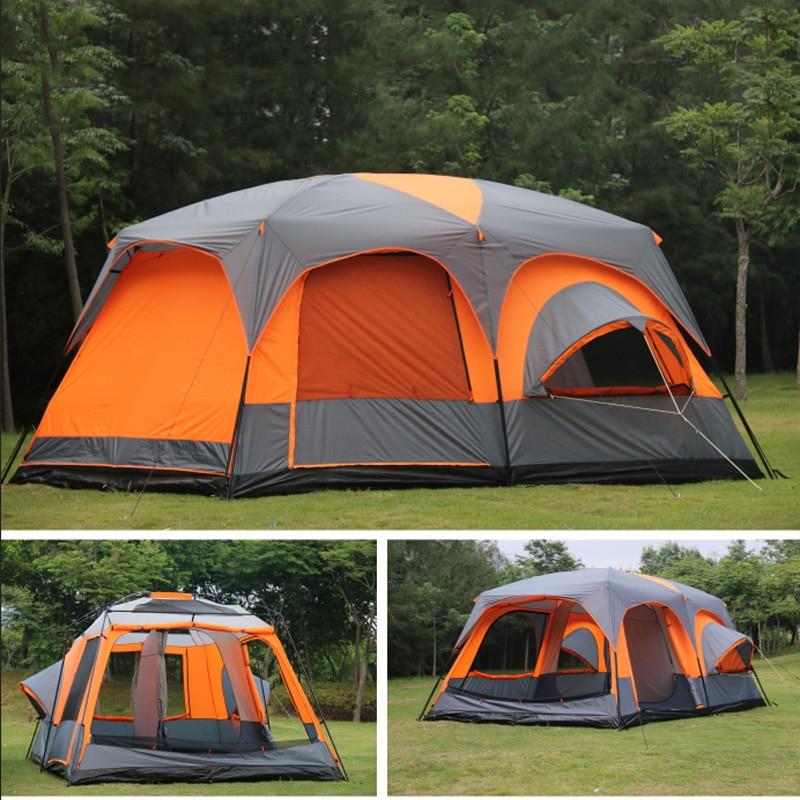 고급 ultralarge 1 홀 2 베드룸 6 8 10 12 야외 캠핑 텐트 215cm 방수 파티 가족 텐트