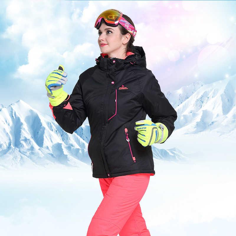 Mùa đông Nữ Trượt Tuyết Phù Hợp Với Thể Thao Ngoài Trời Ván Trượt Tuyết Bộ Trượt Tuyết Áo Khoác + Quần Tuyết Chống Nước Terno Esqui Ropa De Ấm Áp Và chống gió