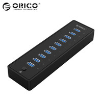 ORICO P10 U3 10 Ports USB 3.0 HUB With VL812 12V3A EU/UK Power Adapter Black