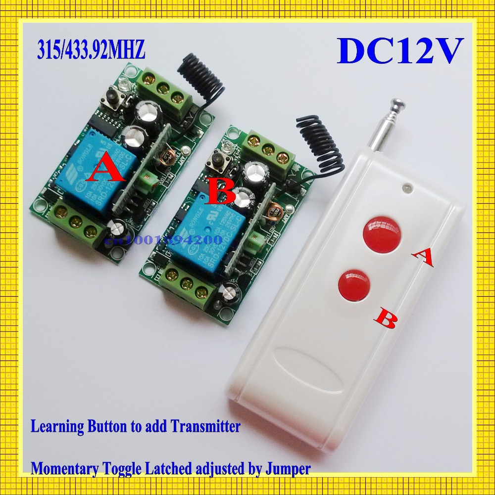 DC12V Long Range RF Remote Controller Wireless ON OFF Switch Learning Code 315/433MHZ 2Receiver 1Transmitter Far Distance RX TX remote control switches dc 12v 2ch receiver long range remote control transmitter 50 1000m 315 433 rx tx 2ch relay learning code