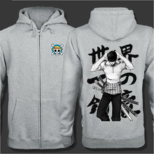 Autumn Winter Zipper Jacket Coat  Cartoon Animation Roronoa Zoro Cosplay Costume Fashion Men Women Sweatshirt One Piece Hoodie