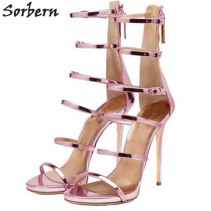 Sorbern Gladiator Style Women Sandals Multi Color High Heels Ankle Wrap Shoes 13cm High Heels Sexy Summer Shoes For Women women summer solid color 13cm sky high sandals for women cut out cross strap high heel sandals sexy metal heels party shoes