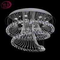 Free Shipping New Modern Spiral Design Flush Mount K9 Crystal Chandelier For Ceiling LED Lustres De
