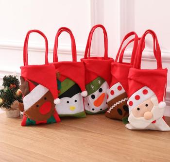 Christmas tote bag gift holders children holiday new year candy bag santa reindeer snowman gift bags non-woven fabrics red