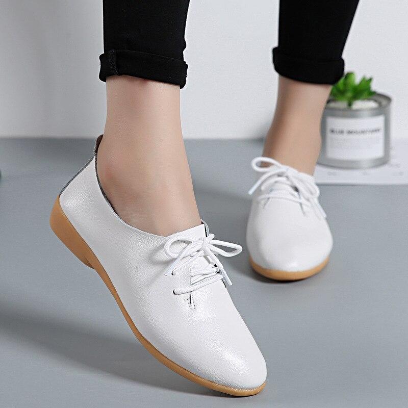 100% Echtem Leder Mode Frauen Damen Wohnungen 11 Candy Farben Casual Lace-up Loafers Frühling Herbst Mokassins Oxford Schuhe