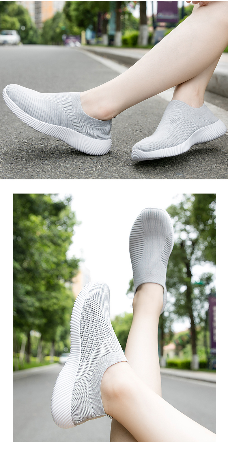 Slip On Flying Knit Women Fashion Sneakers Breathable Flat Heel Casual Shoes Round Toe Low Top Women Shoes XU034 (5)