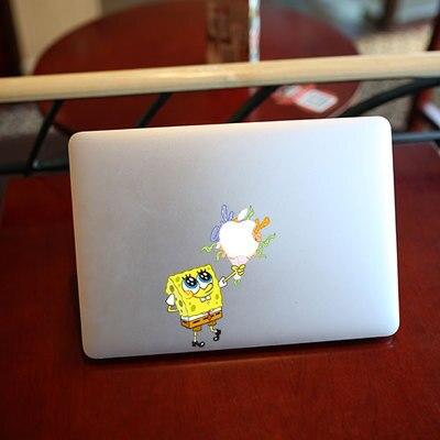 CJ Cute Cartoon SpongeBob Present Flowers Decal Laptop Stickers - Spongebob macbook decal