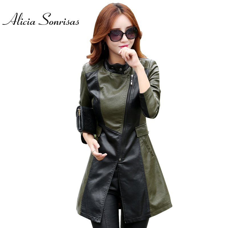 Plus Size Long   Leather   Jacket Women New 2018 Spring Korean Slim Thin Jaqueta De Couro Long Sleeve Army Green Patchwork KF6608