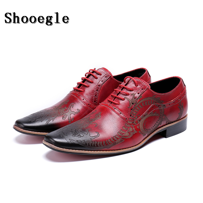 SHOOEGLE Men Red Luxury Classic Business Shoes High Quality Leather Oxfords Shoes Lace-Up Retro Bullock Design Men Oxfords
