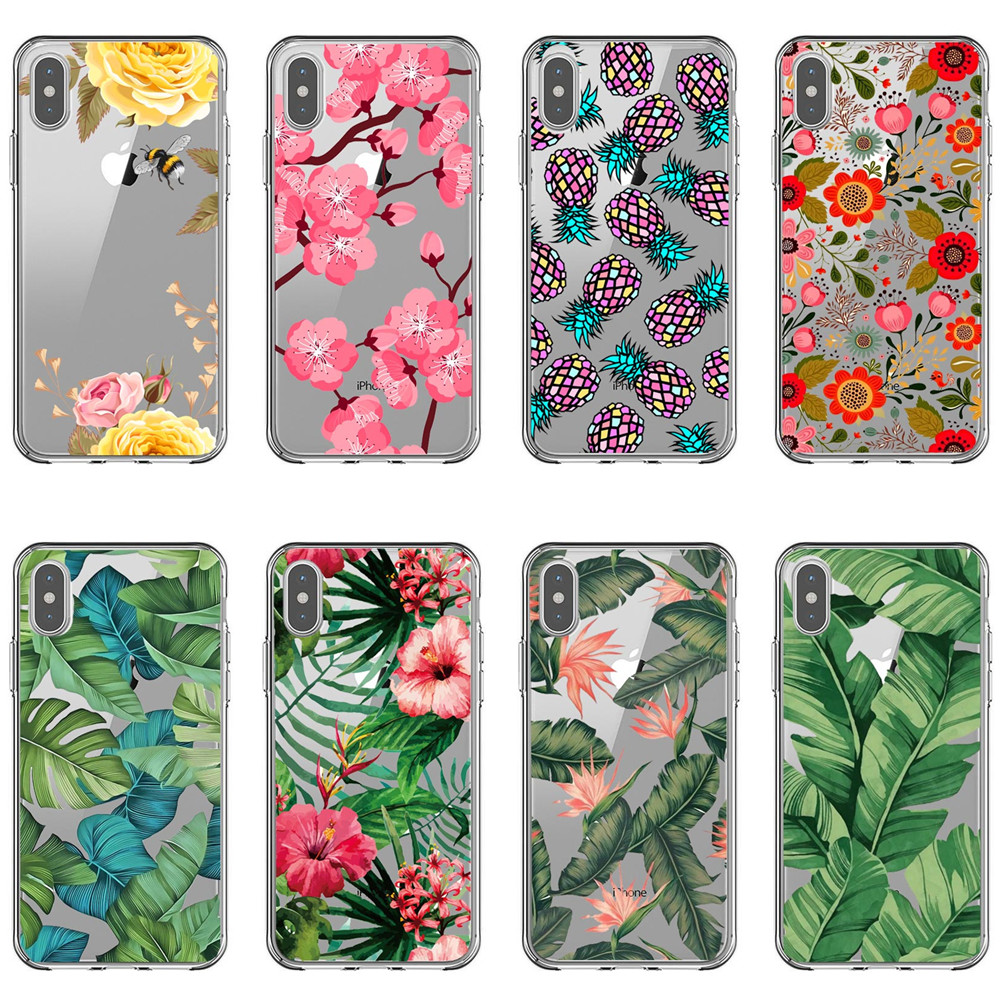 Flower Leaf Print Phone Case For iPhone XS MAX XR Cactus Leaves Flamingo Pineapple Soft TPU Case