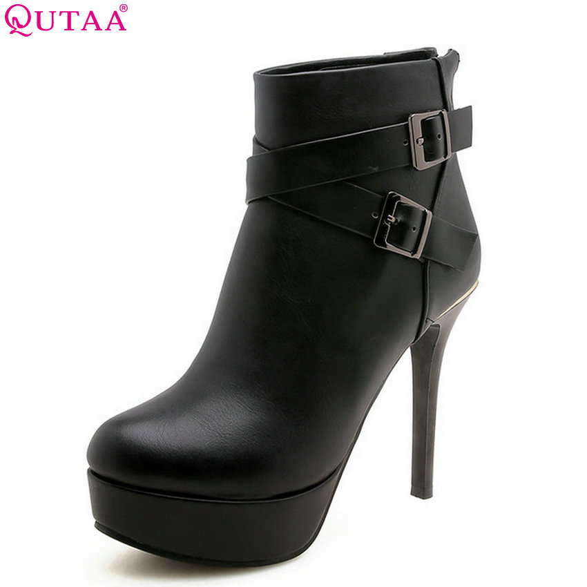 QUTAA 2019 Women Ankle Boots Thin High Heel Platform Sexy Winter Shoes Pu Leather All Match