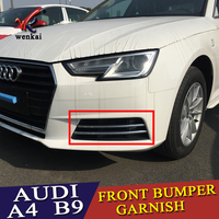 For Audi A4 B9 2016 2017 2018 Sedan Avant Chrome Fog Light Lamp Strips ABS Molding Grill Grille Accessories Trims