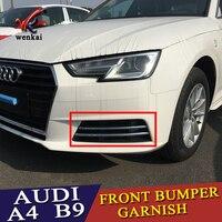 For Audi A4 B9 2016 2017 2018 Sedan Avant Chrome Fog Light Lamp Strips ABS Molding Grill Grille Accessories Trims