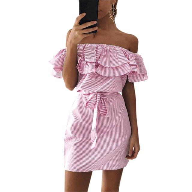 Kawaii Повязки Party Beach Платья Sexy Оборками Slash Шеи Мини Платье Женщины Полосатом Платье Лето Vestidos Mujer Плюс Размер GV563
