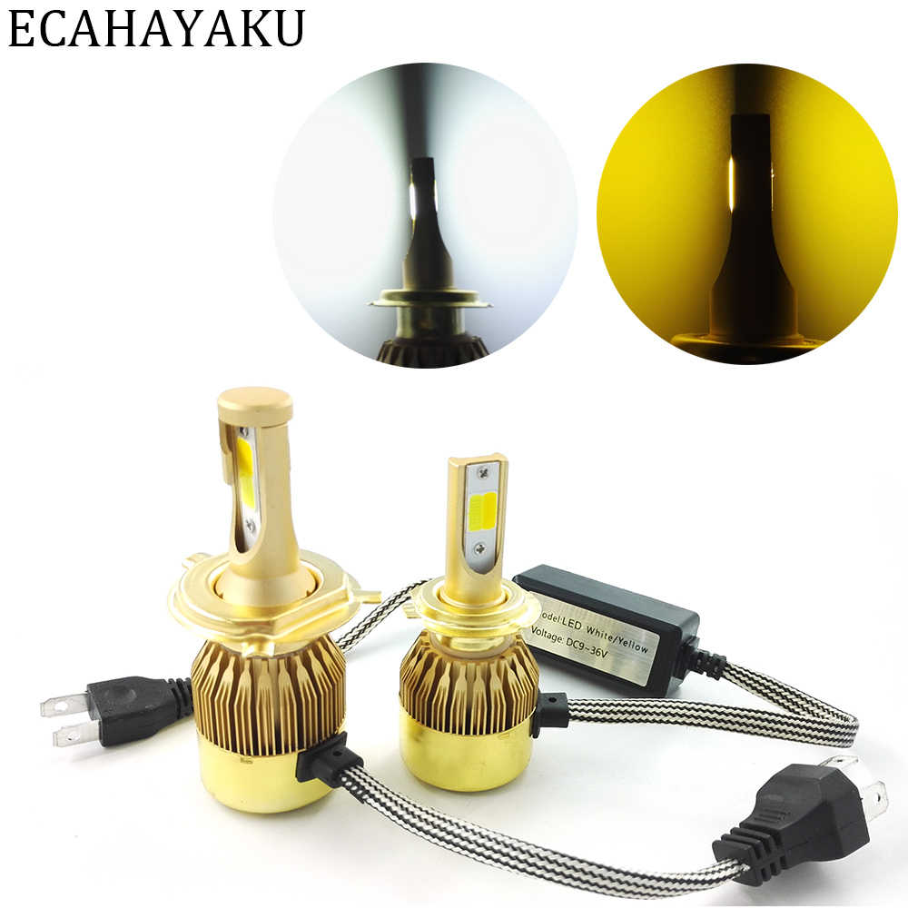 ECAHAYAKU 2 Pcs H4 LED 72W Car LED Headlight H7 H11 H1 H3 H27 881 HB3/9005 HB4/9006 9012 Dual Double Color LED Light 3000K 6000K