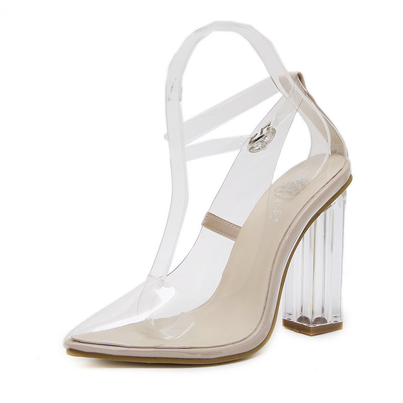 Women PVC Transparent Pumps Pointed Toe High Heels Sandals Woman Ankle Buckle Strap Crystal Heels Fashion Sexy Ladies Shoes women pumps flock high heels shoes woman fashion 2017 summer leather casual shoes ladies pointed toe buckle strap high quality