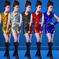 Женщины Блестками Джаз Костюм Дамы Хип-Хоп Кисточкой Танец Носить Сексуальное Сценическое Одежда Набор Рукавов Топ + Шорты W723