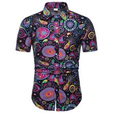 Floral Mens Shirt Short-sleeved Linen Shirts Men Hip hop shirts Social Blouse Plus Size 4XL 5XL