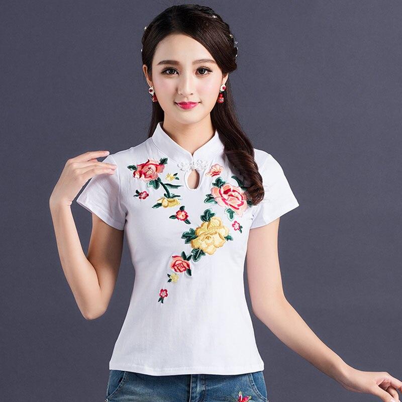 Floral Embroidery Camisetas Mujer Tshirt Camisa Feminina Tops T Shirt Vintage Summer Top T Shirt Women Plus Size 4XL Harajuku
