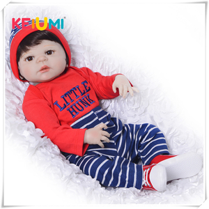Full Silicone Vinyl Newborn Doll Toys Realistic Reborn Dolls 23 Inch Baby Boys Gifts Educational Reborn Boneca Children Playmate(China)