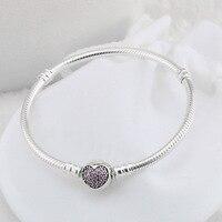 Original 925 joyas de plata esterlina amor corazón encanto con Rosa CZ plata pulseras DIY que hace para las mujeres regalo al por mayor SS8787
