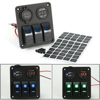 LED Rocker Switch Panel Dual USB Charger Power Socket Voltmeter Marine Boat Rv Aluminum 12V 20A