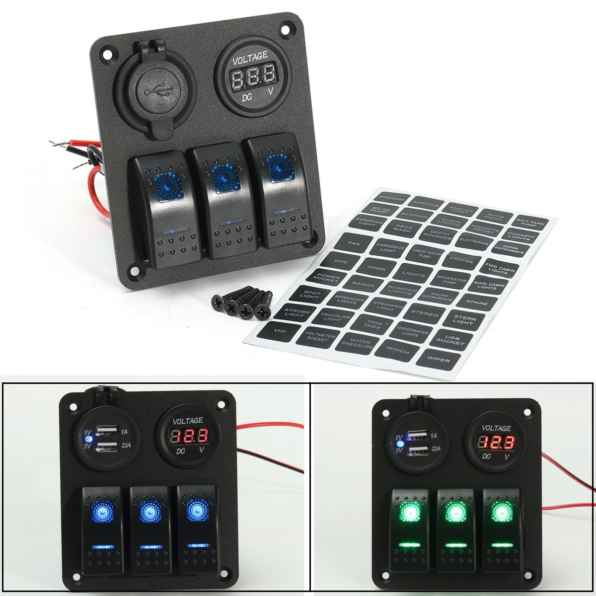 LED Rocker Switch Panel Dual USB Charger Power Socket Voltmeter Marine Boat Rv Aluminum 12V 20A DC/24V 10A DC недорого