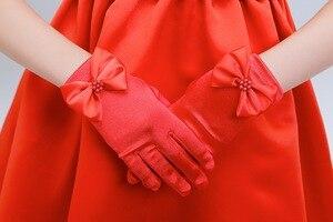Image 4 - 10 ชิ้น/ล็อตเด็กสาวดอกไม้สั้นถุงมือสีขาวสีแดงสีชมพูลูกไม้ถุงมือเครื่องแต่งกาย dacning ถุงมือจัดส่งฟรีขายส่ง