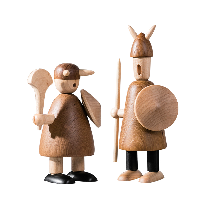 Us 2752 5 Offnordic Vikingage Wood Viking Soldier Figurine Valentines Day Gift Wooden Toys Puppet Crafts Home Decor In Figurines Miniatures From