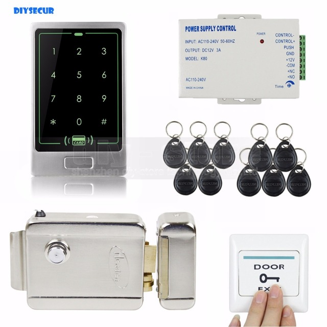 DIYSECUR 8000 User 125KHz RFID Touch Reader Password Keypad Door Access Control Security System Kit + Electric Lock