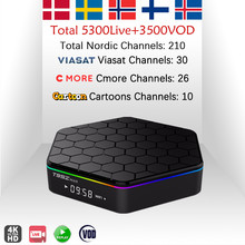 T95ZPlus 2G/16G+ Nordic шведская IPTV приставка подписки Норвегии Финляндия Дания IPTV, Amlogic S912 H.265 Wi-Fi 4 K VOD Android Smart ТВ коробка