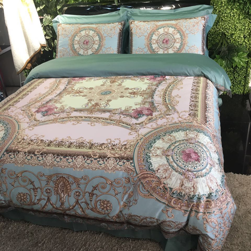 Svetanya brocade Digital printing Bedding Sets 100% Cotton Duvet Cover Set Queen King Size European style BedlinenSvetanya brocade Digital printing Bedding Sets 100% Cotton Duvet Cover Set Queen King Size European style Bedlinen