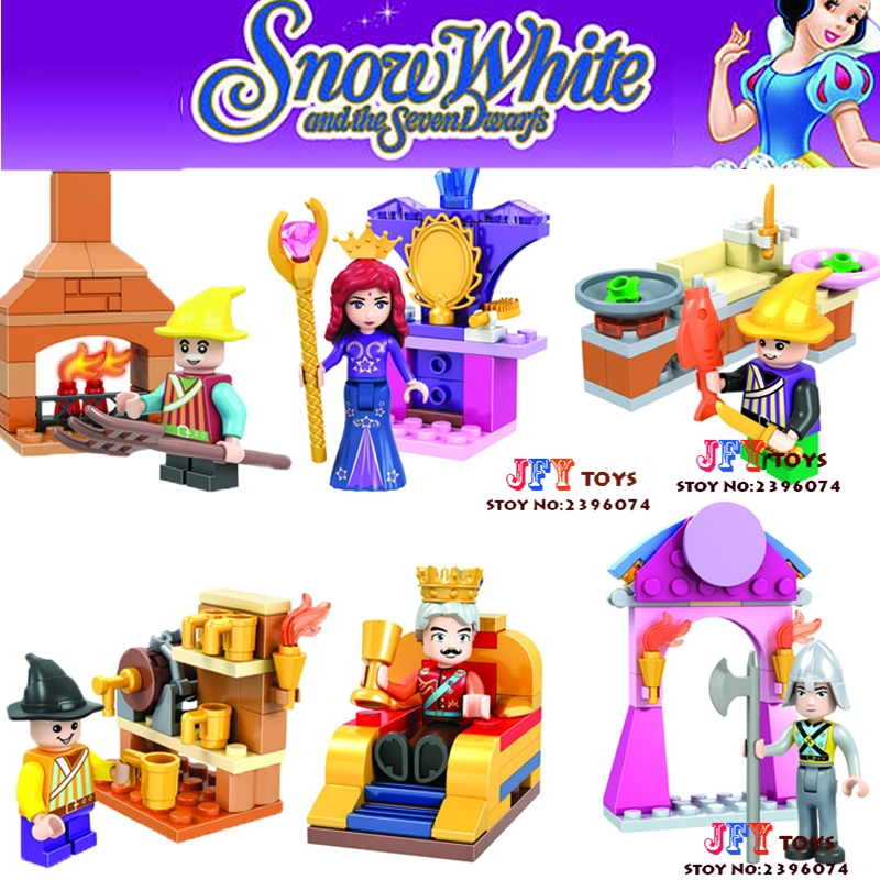 6pcs star wars super heroes Cinderella Ariel Snow White Princess Friends building blocks model bricks toys for children juguetes