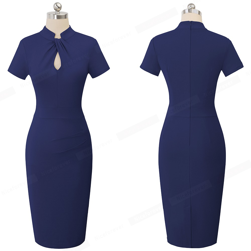 Nice-forever Vintage Contrast Color Patchwork Wear to Work Knot vestidos Bodycon Office Business Sheath Women Dress B430 9
