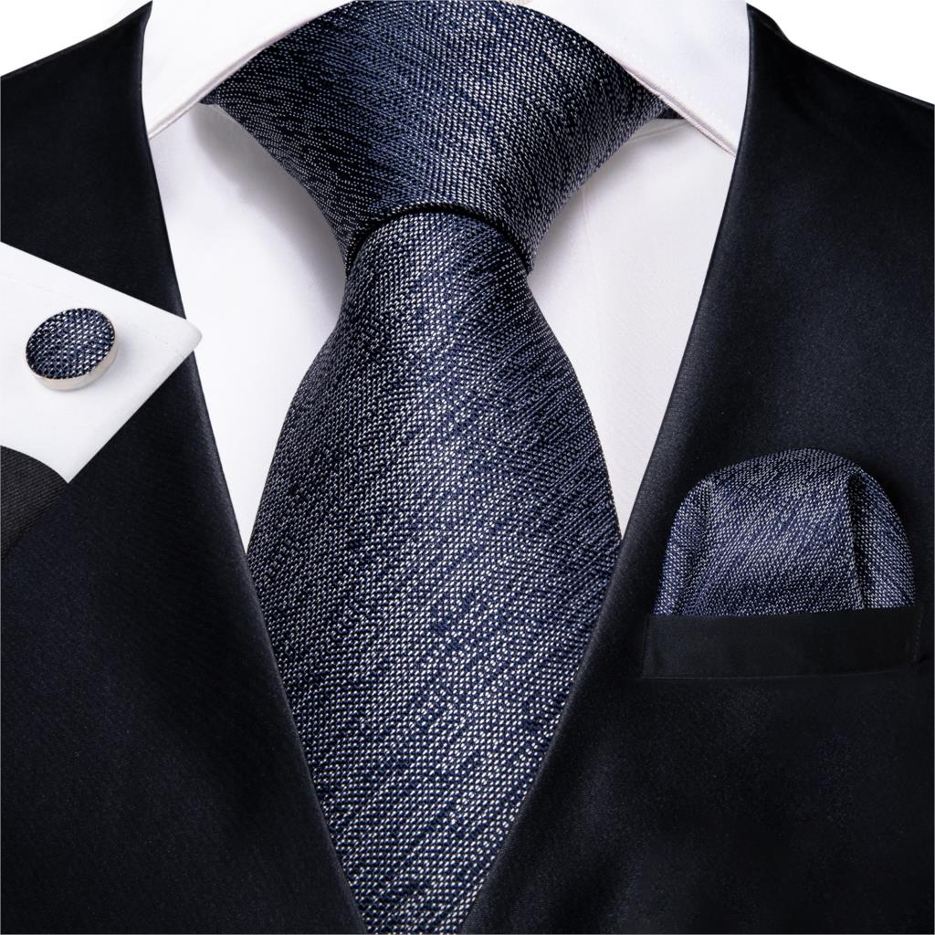 2019 DiBanGu Top Blue Solid Tie For Men 100% Silk Tie Hanky Cufflinks Men's Neck Tie Suit Business Wedding Party Tie Set MJ-7139