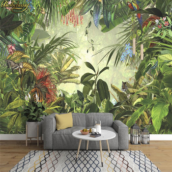 beibehang Custom Hand-painted rainforest banana wall mural wallpaper for wall living room photo murals wall papers home decor hand painted tropical rainforest plantain wall custom high end mural factory wholesale wallpaper mural photo wall